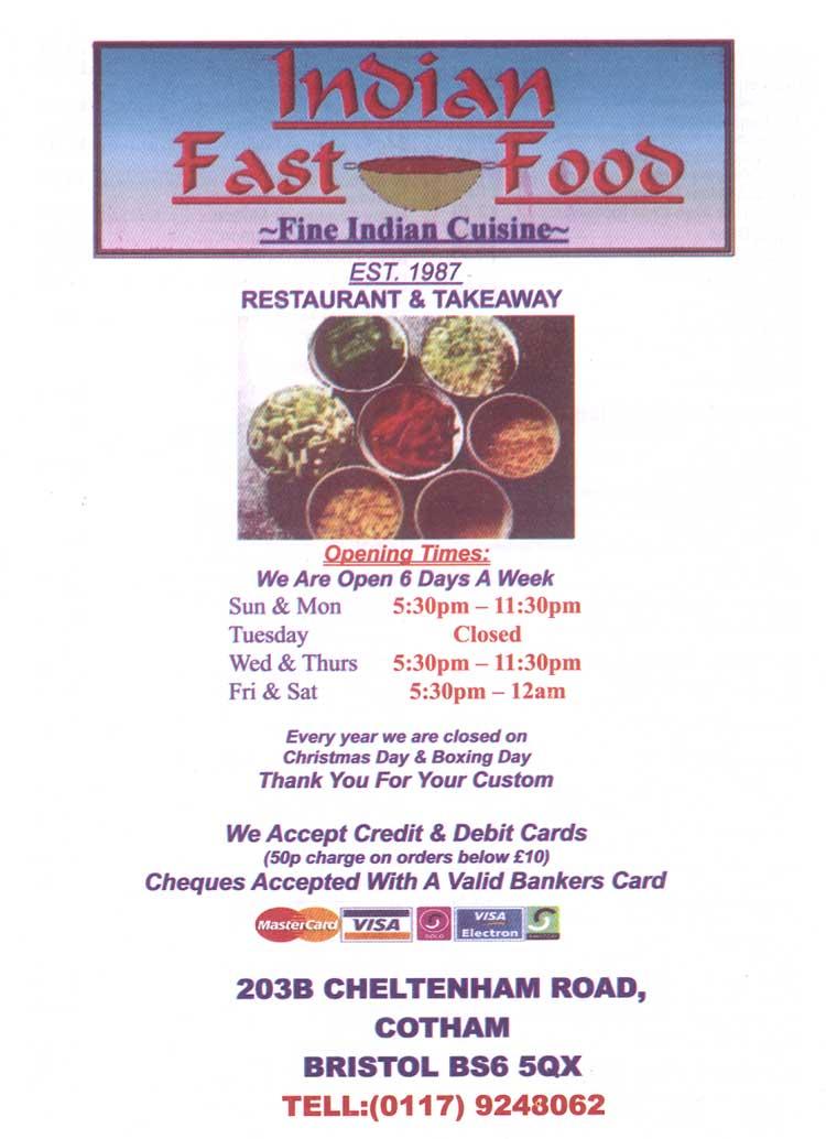 Fast Food Indian Bristol
